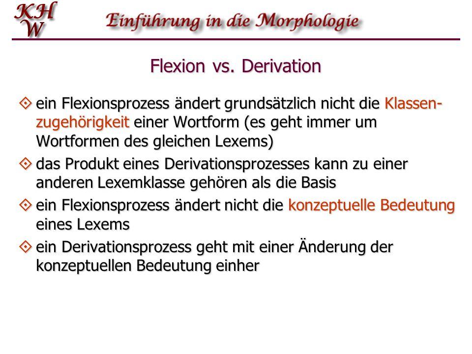 Flexion vs. Derivation ein Flexionsprozess ändert grundsätzlich nicht die Klassen- zugehörigkeit einer Wortform (es geht immer um Wortformen des gleic
