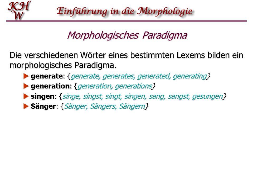 Morphologisches Paradigma Die verschiedenen Wörter eines bestimmten Lexems bilden ein morphologisches Paradigma. generate: {generate, generates, gener