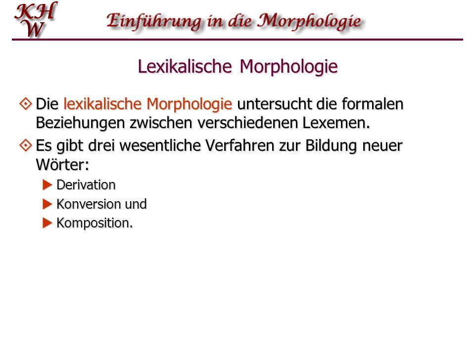 Lexikalische Morphologie Die lexikalische Morphologie untersucht die formalen Beziehungen zwischen verschiedenen Lexemen. Die lexikalische Morphologie