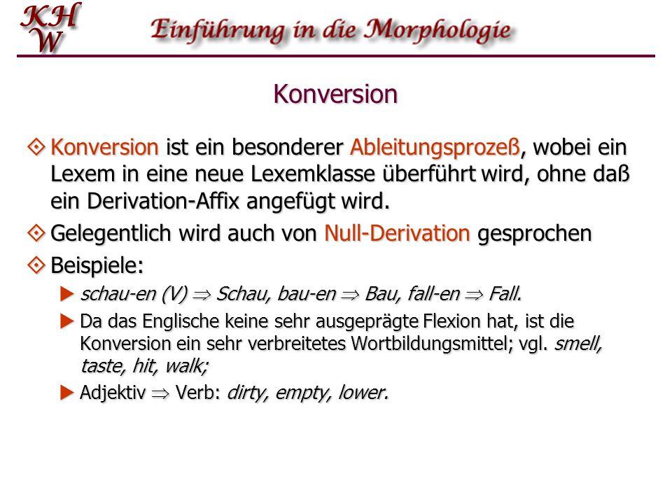 Konversion Konversion ist ein besonderer Ableitungsprozeß, wobei ein Lexem in eine neue Lexemklasse überführt wird, ohne daß ein Derivation-Affix ange