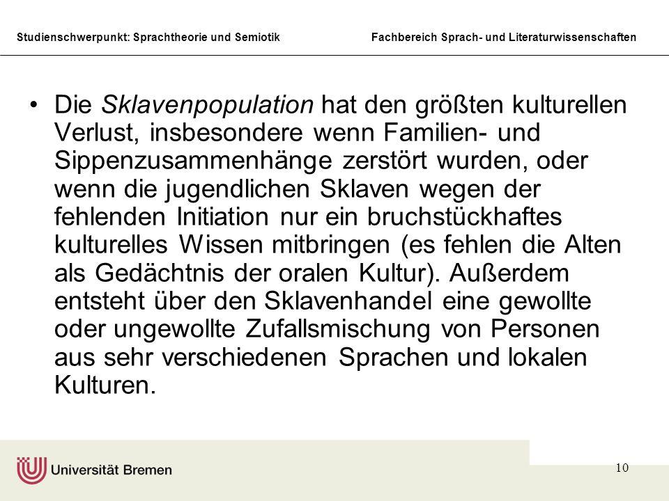 Studienschwerpunkt: Sprachtheorie und SemiotikFachbereich Sprach- und Literaturwissenschaften 10 Die Sklavenpopulation hat den größten kulturellen Ver