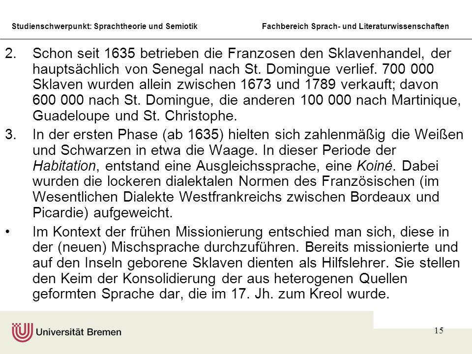 Studienschwerpunkt: Sprachtheorie und SemiotikFachbereich Sprach- und Literaturwissenschaften 15 2.Schon seit 1635 betrieben die Franzosen den Sklaven