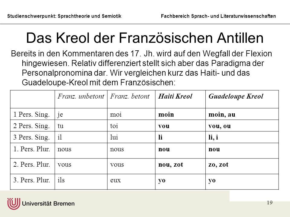 Studienschwerpunkt: Sprachtheorie und SemiotikFachbereich Sprach- und Literaturwissenschaften 19 Das Kreol der Französischen Antillen Bereits in den K