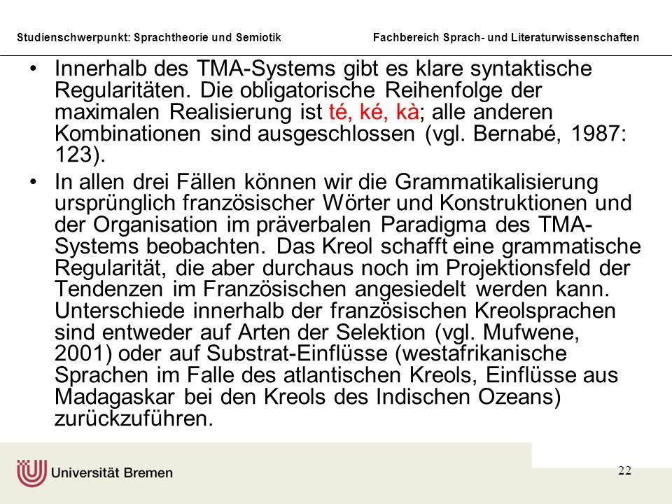 Studienschwerpunkt: Sprachtheorie und SemiotikFachbereich Sprach- und Literaturwissenschaften 22 Innerhalb des TMA-Systems gibt es klare syntaktische