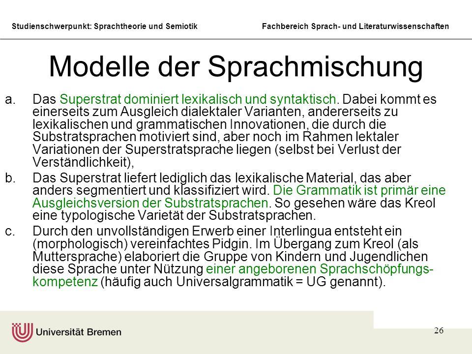 Studienschwerpunkt: Sprachtheorie und SemiotikFachbereich Sprach- und Literaturwissenschaften 26 Modelle der Sprachmischung a.Das Superstrat dominiert
