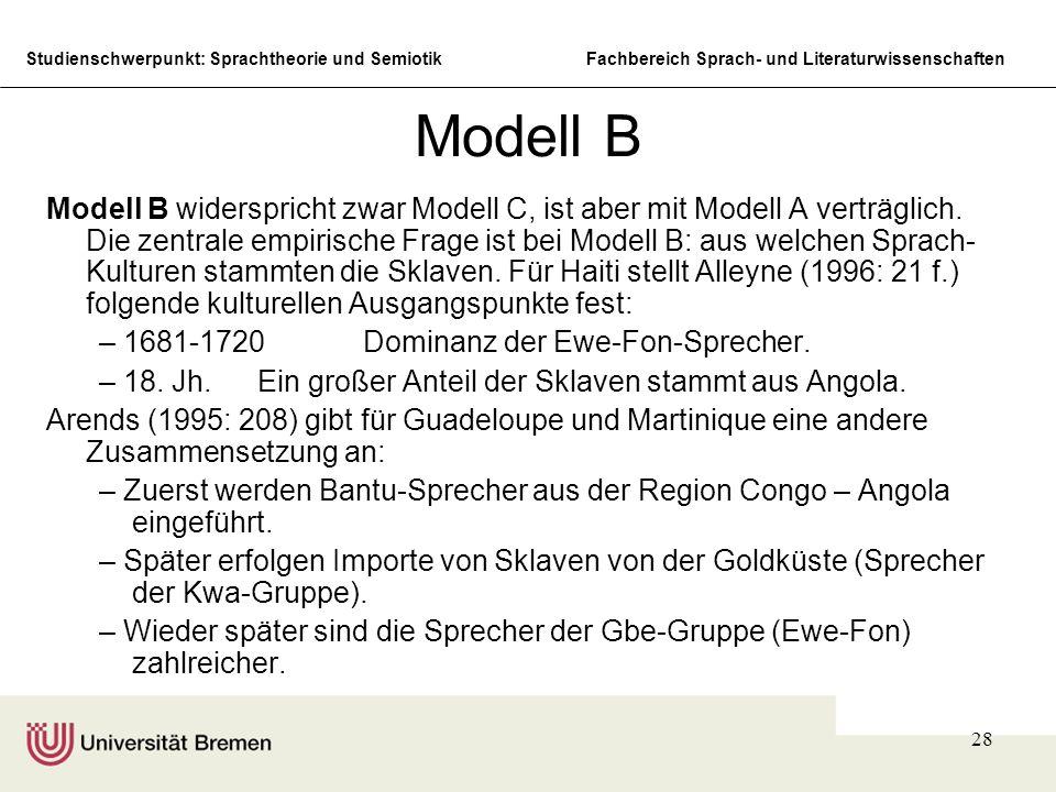 Studienschwerpunkt: Sprachtheorie und SemiotikFachbereich Sprach- und Literaturwissenschaften 28 Modell B Modell B widerspricht zwar Modell C, ist abe