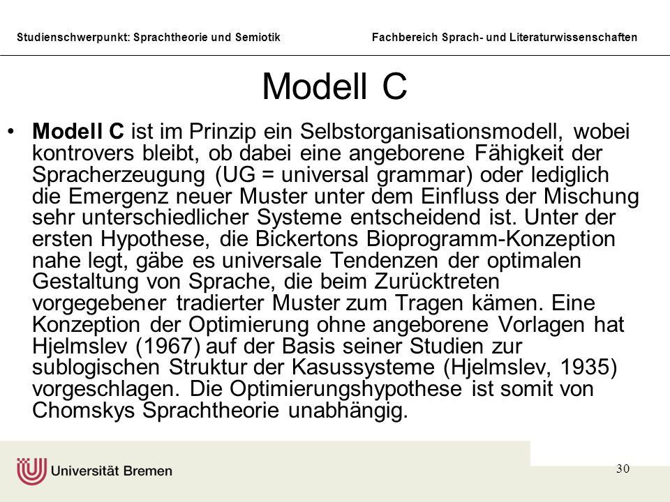 Studienschwerpunkt: Sprachtheorie und SemiotikFachbereich Sprach- und Literaturwissenschaften 30 Modell C Modell C ist im Prinzip ein Selbstorganisati
