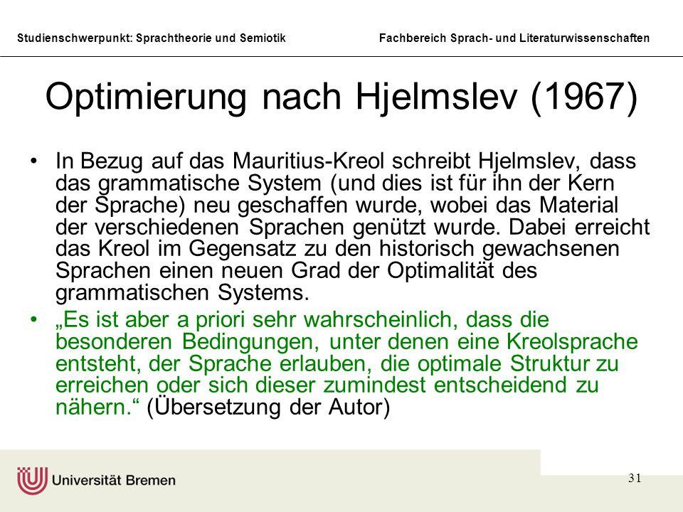 Studienschwerpunkt: Sprachtheorie und SemiotikFachbereich Sprach- und Literaturwissenschaften 31 Optimierung nach Hjelmslev (1967) In Bezug auf das Ma