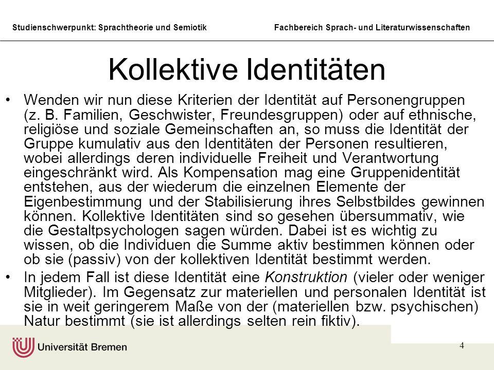 Studienschwerpunkt: Sprachtheorie und SemiotikFachbereich Sprach- und Literaturwissenschaften 5 Identität symbolischer Formen Die Sprache und die Kultur (d.