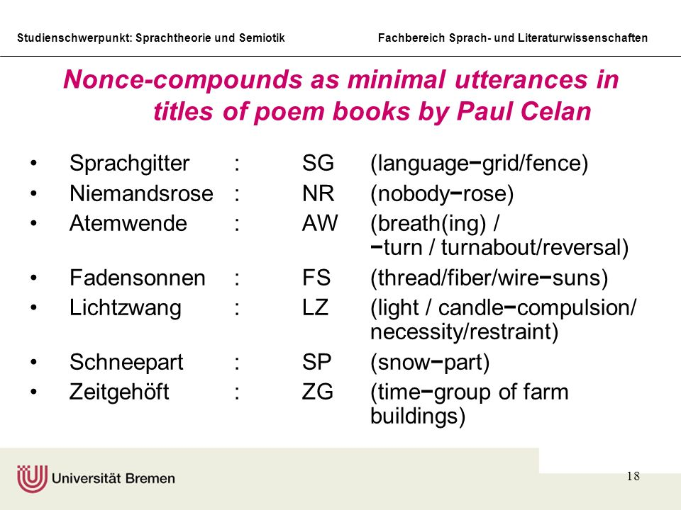 Studienschwerpunkt: Sprachtheorie und SemiotikFachbereich Sprach- und Literaturwissenschaften 18 Nonce-compounds as minimal utterances in titles of po