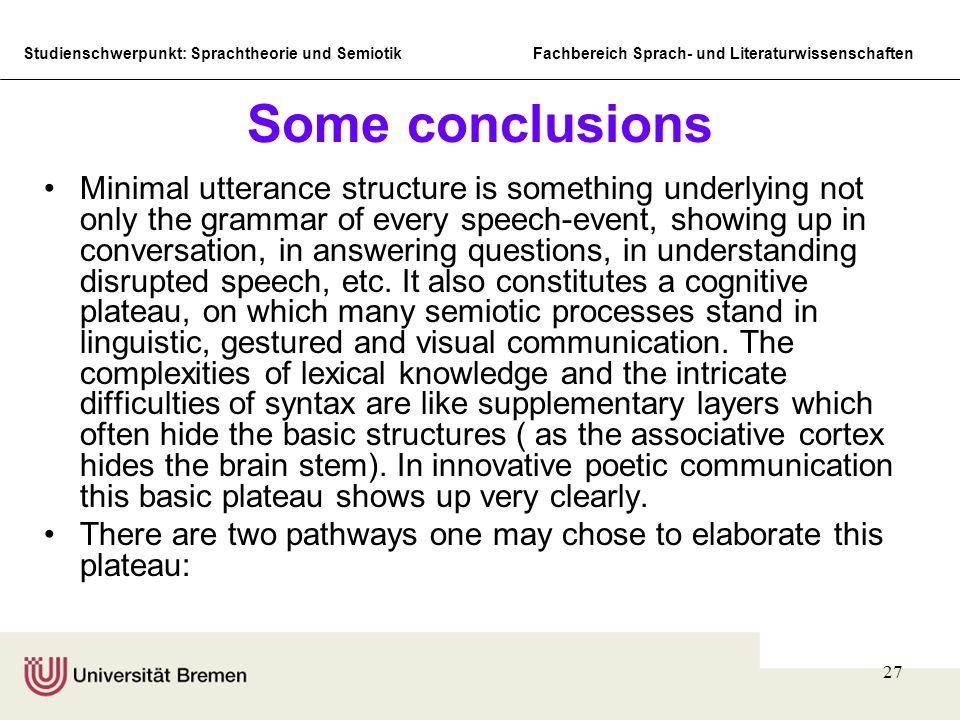 Studienschwerpunkt: Sprachtheorie und SemiotikFachbereich Sprach- und Literaturwissenschaften 27 Some conclusions Minimal utterance structure is somet