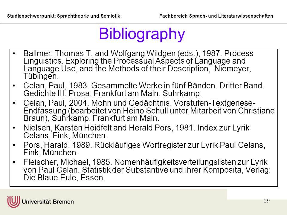 Studienschwerpunkt: Sprachtheorie und SemiotikFachbereich Sprach- und Literaturwissenschaften 29 Bibliography Ballmer, Thomas T. and Wolfgang Wildgen