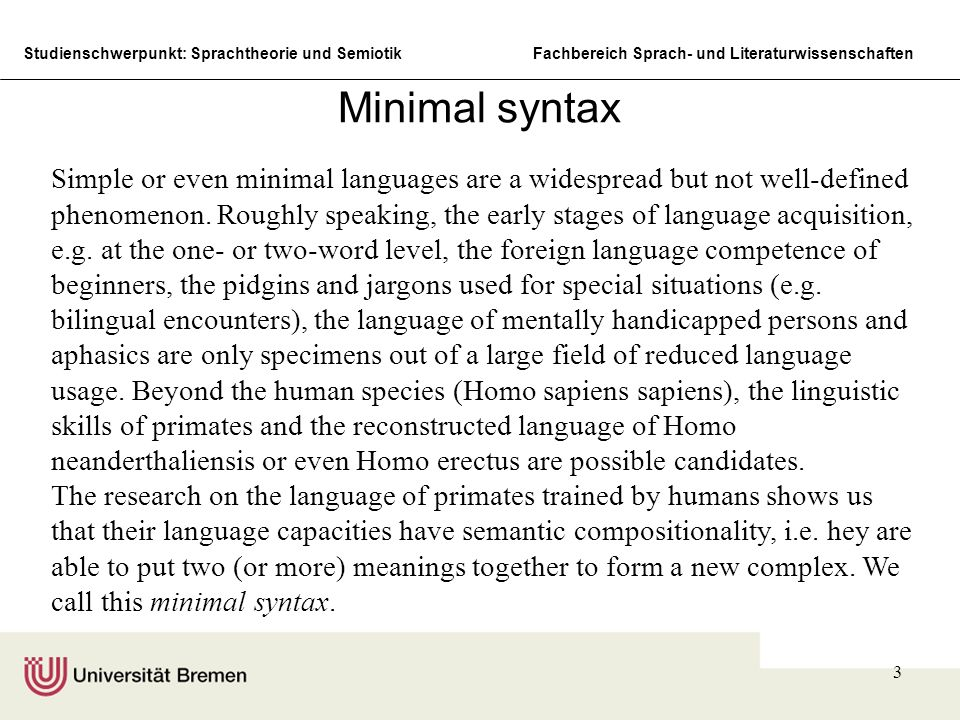 Studienschwerpunkt: Sprachtheorie und SemiotikFachbereich Sprach- und Literaturwissenschaften 3 Minimal syntax Simple or even minimal languages are a
