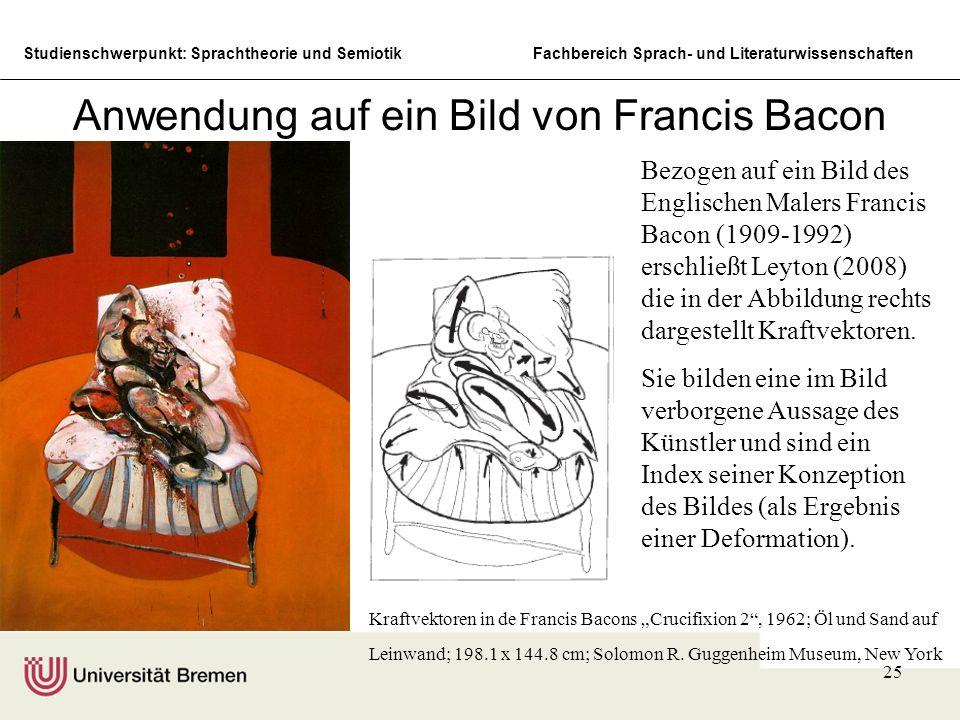 Studienschwerpunkt: Sprachtheorie und SemiotikFachbereich Sprach- und Literaturwissenschaften 25 Anwendung auf ein Bild von Francis Bacon Kraftvektore
