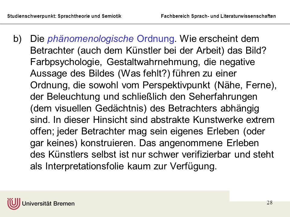 Studienschwerpunkt: Sprachtheorie und SemiotikFachbereich Sprach- und Literaturwissenschaften 28 b)Die phänomenologische Ordnung. Wie erscheint dem Be