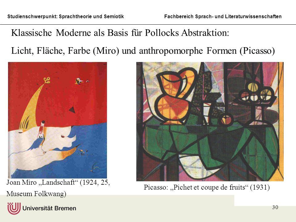 Studienschwerpunkt: Sprachtheorie und SemiotikFachbereich Sprach- und Literaturwissenschaften 30 Joan Miro Landschaft (1924, 25, Museum Folkwang) Pica