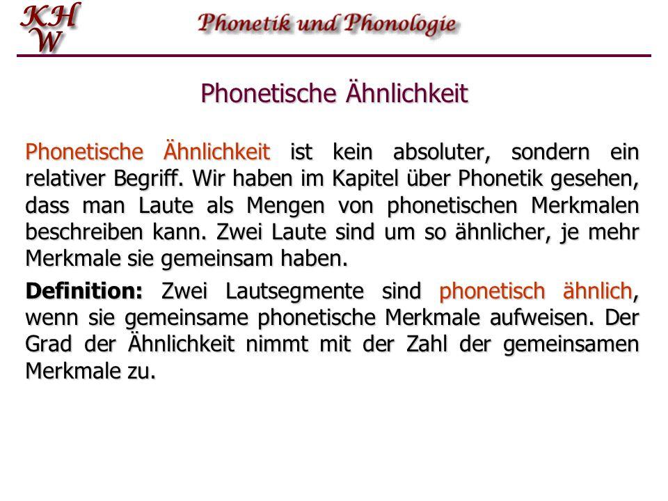 Phonem – phonetische Ähnlichkeit Verschiedene Phontypen wiederum können zu einer Klasse, dem Phonem, zusammengefasst werden, wenn sie bestimmte Beding