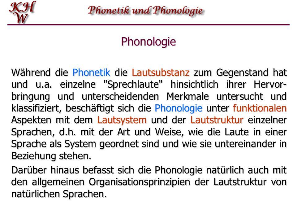 Phonologie Während die Phonetik die Lautsubstanz zum Gegenstand hat und u.a.