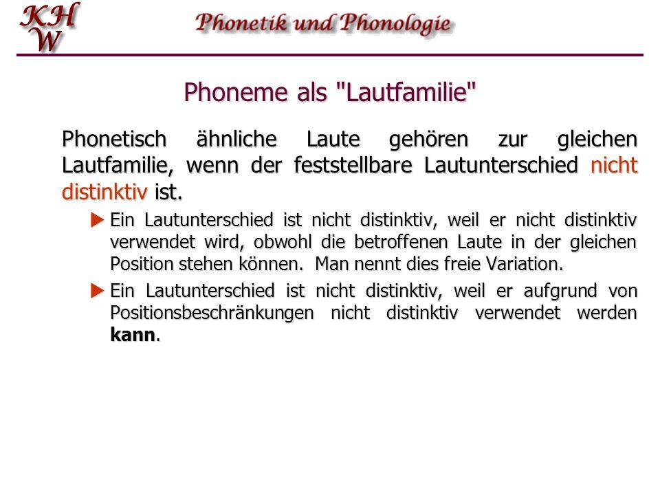 Phonetische Ähnlichkeit Die phonetische Ähnlichkeit ist eine notwendige Bedingung für die Zugehörigkeit zur gleichen