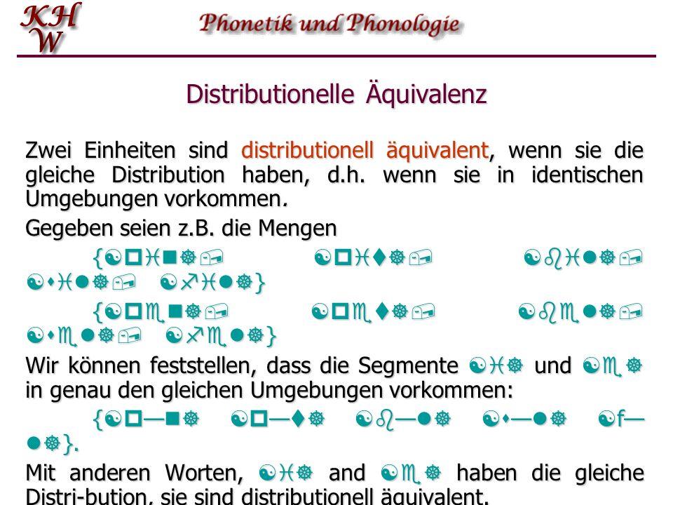 Distribution Nach Einführung des Begriffes der Distribution können wir nun verschiedene Entitäten hinsichtlich ihrer Distribution vergleichen. Dabei s