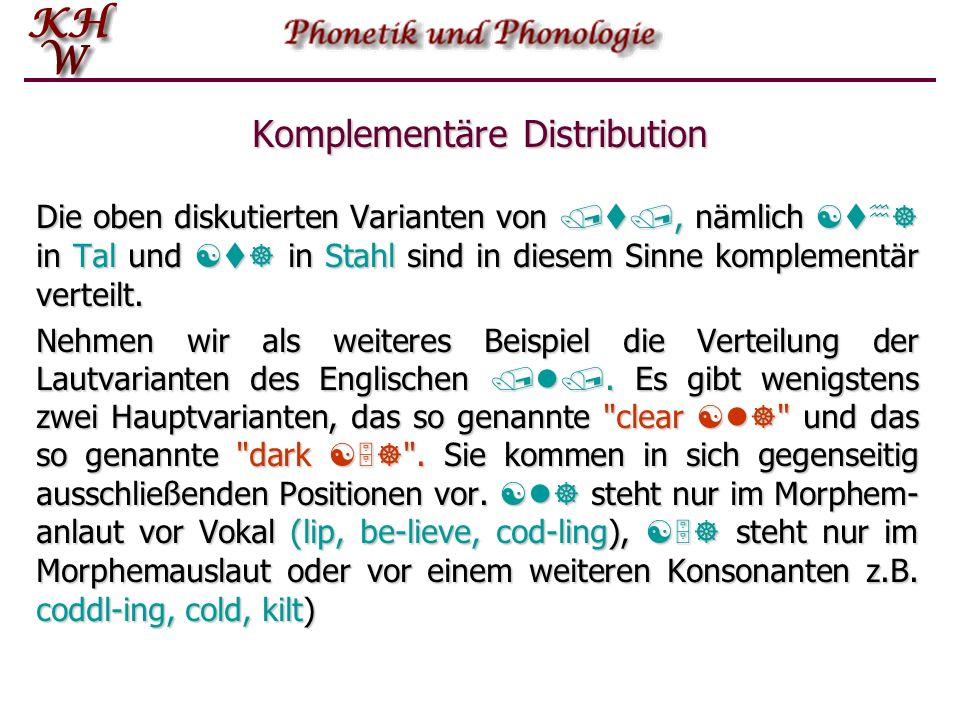 Komplementäre Distribution Das Gegenstück zur distributionellen Äquivalenz ist das völlige Fehlen gemeinsamer Umgebungen. Man nennt dies komplementäre
