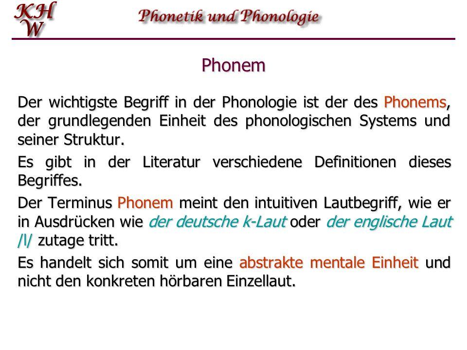 Phonologie Während die Phonetik die Lautsubstanz zum Gegenstand hat und u.a. einzelne