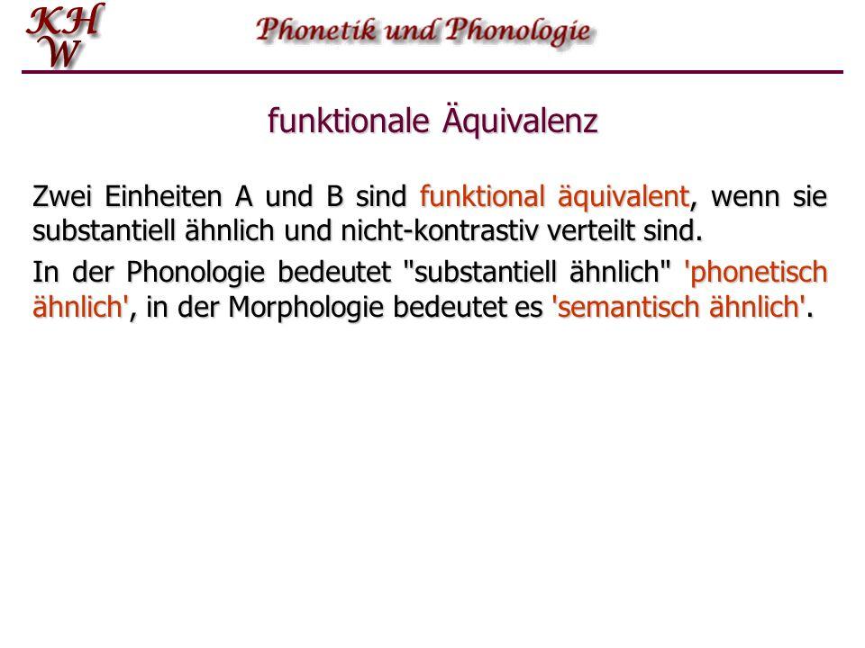 funktionale Äquivalenz Phontypen, die phonetisch ähnlich sind, sind funktional äquivalent, wenn sie nie in Opposition stehen, d.h. wenn sie entweder k