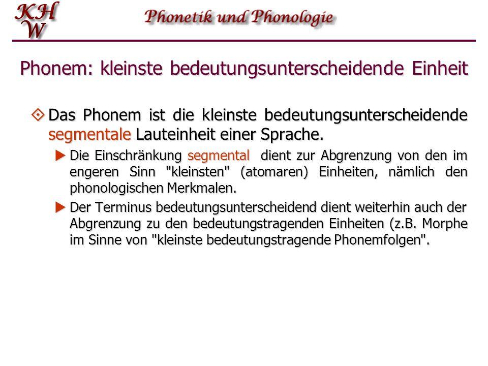 Phonem: kleinste bedeutungsunterscheidende Einheit Das Phonem ist die kleinste bedeutungsunterscheidende segmentale (abstrakte) Lauteinheit einer Spra