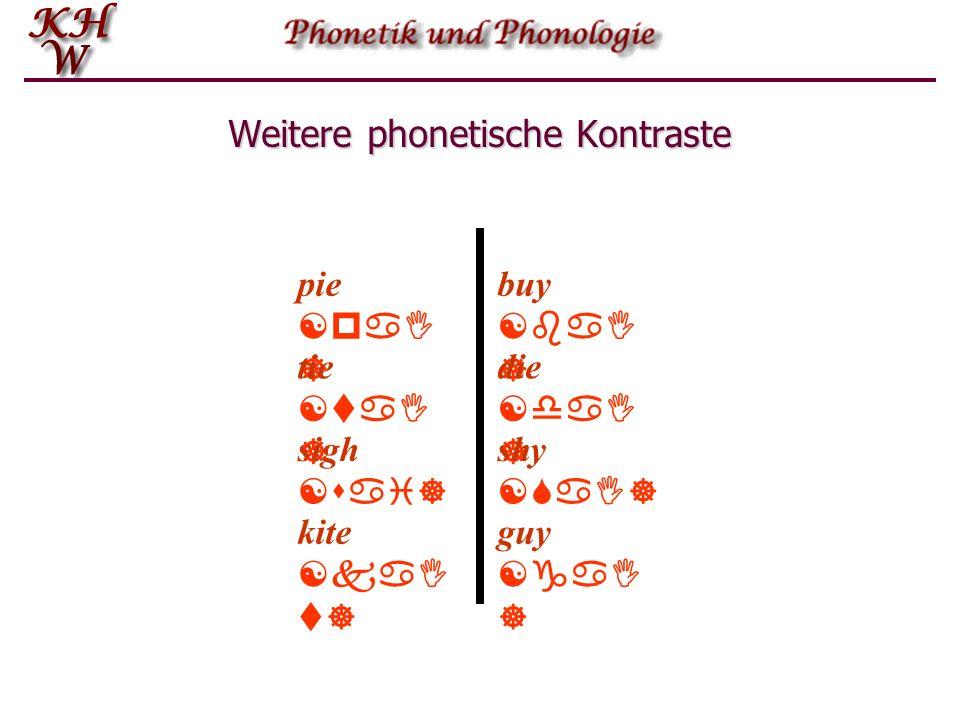 Weitere phonetische Kontraste pie [paI ] buy [baI ] tie [taI ] sigh [sai] die [daI ] shy [SaI] guy [gaI ] kite [kaI t]