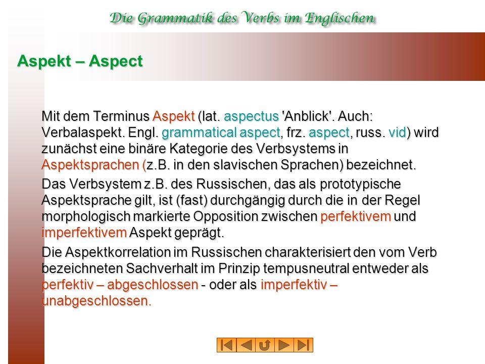 Aspekt – Aspect Mit dem Terminus Aspekt (lat. aspectus Anblick .