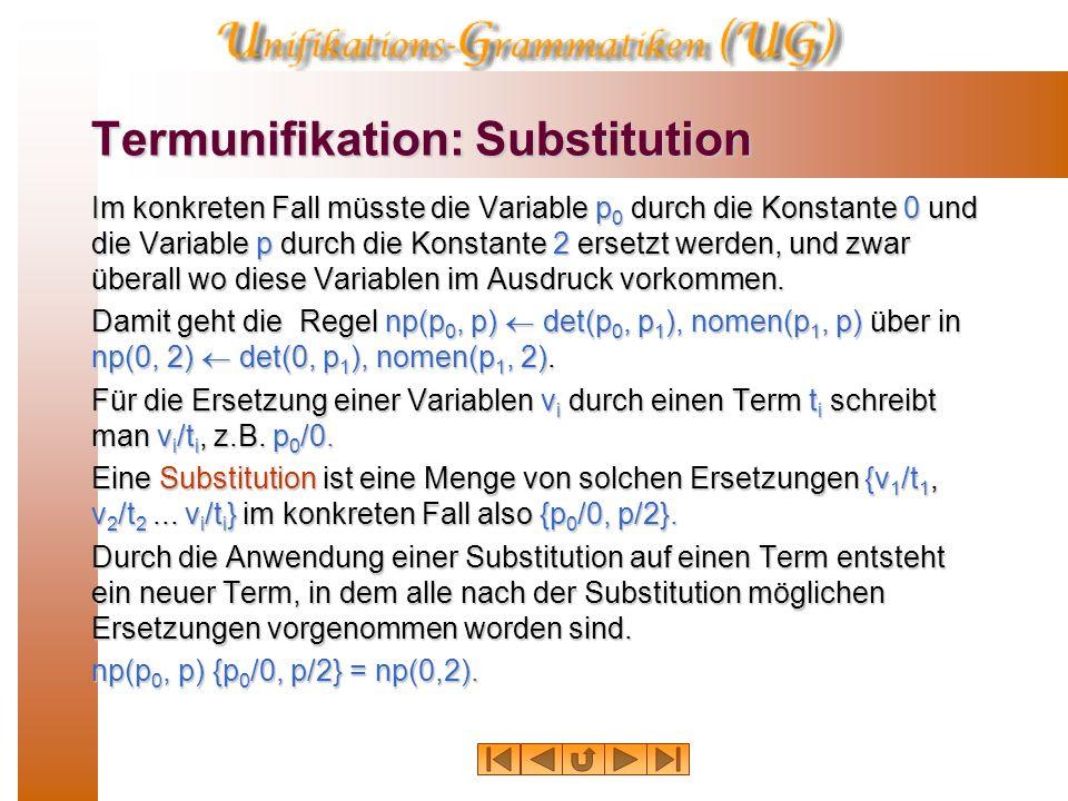 Termunifikation: Regeln Regeln wie np(p 0, p) det(p 0, p 1 ), nomen(p 1, p) weisen eine besondere Struktur auf, eine Operand – Operator – Operand- Str