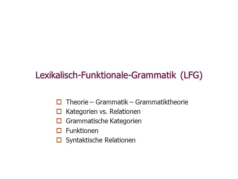 Lexikalisch-Funktionale-Grammatik (LFG) Theorie – Grammatik – Grammatiktheorie Kategorien vs. Relationen Grammatische Kategorien Funktionen Syntaktisc