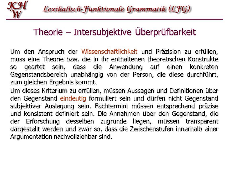 Um den Anspruch der Wissenschaftlichkeit und Präzision zu erfüllen, muss eine Theorie bzw. die in ihr enthaltenen theoretischen Konstrukte so geartet