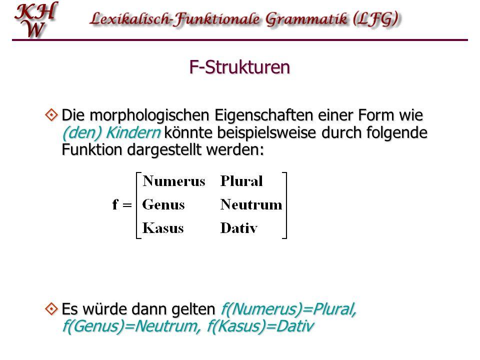 F-Strukturen Die morphologischen Eigenschaften einer Form wie (den) Kindern könnte beispielsweise durch folgende Funktion dargestellt werden: Die morp