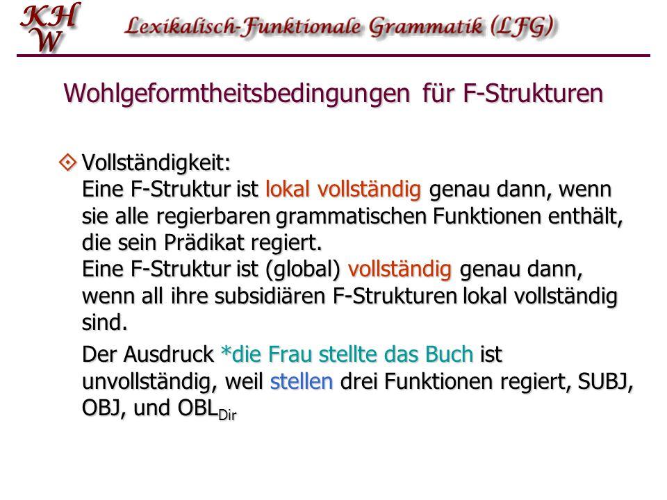 Wohlgeformtheitsbedingungen für F-Strukturen Vollständigkeit: Eine F-Struktur ist lokal vollständig genau dann, wenn sie alle regierbaren grammatische