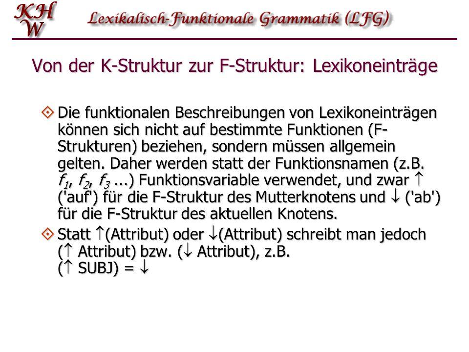 Von der K-Struktur zur F-Struktur: Lexikoneinträge Die funktionalen Beschreibungen von Lexikoneinträgen können sich nicht auf bestimmte Funktionen (F-