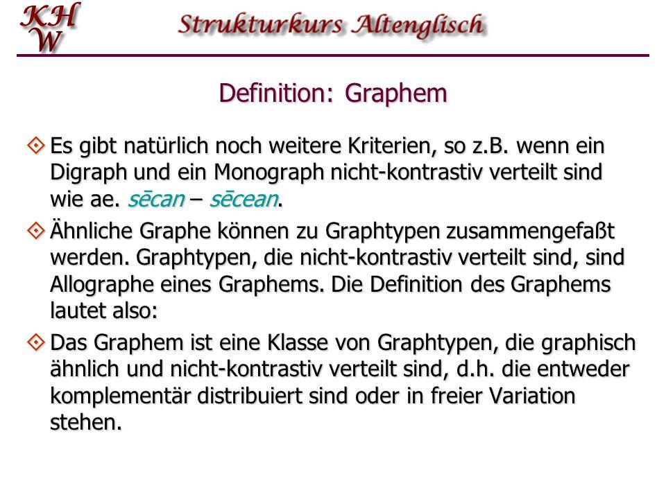 Analogie von Phonem und Graphem Die Begriffe Phon, Phontyp, Allophon, Phonem und kontrastive bzw. nicht-kontrasitve Verteilung lassen sich analog auf