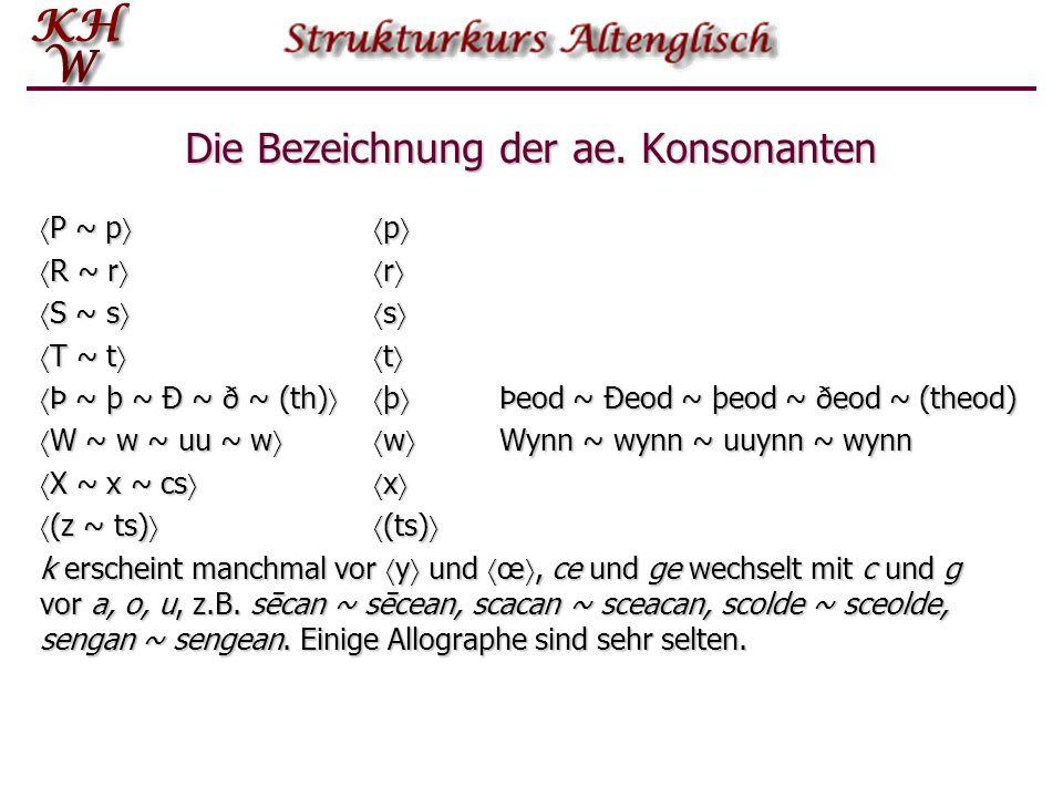 Die Bezeichnung der ae. Konsonanten B ~ b b B ~ b b C ~ K ~ c ~ k ~ ce c Cyning ~ Kyning ~ cyning ~ kyning, secan ~ secean C ~ K ~ c ~ k ~ ce c Cyning