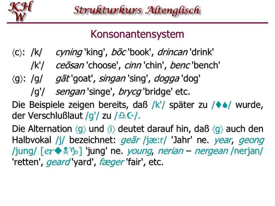 Konsonantensystem Grapheme : ptc bdg fþh s mn l r w Alle Grapheme (mit Ausnahme von w ) kommen auch als Geminaten (Doppelkon- sonanten) vor. Dabei wir