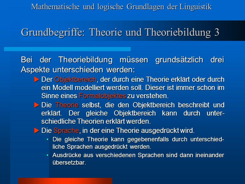 Mathematische und logische Grundlagen der Linguistik Grundbegriffe: Theorie und Theoriebildung 3 Bei der Theoriebildung müssen grundsätzlich drei Aspekte unterschieden werden: Der Objektbereich, der durch eine Theorie erklärt oder durch ein Modell modelliert werden soll.
