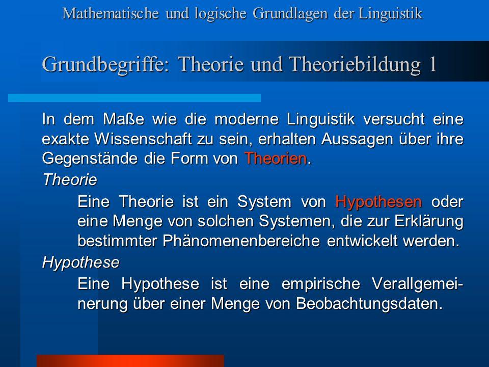 Mathematische und logische Grundlagen der Linguistik Grundbegriffe: Theorie und Theoriebildung 2 Wir können zumindest vier Phasen der Theorie- bildung unterscheiden.