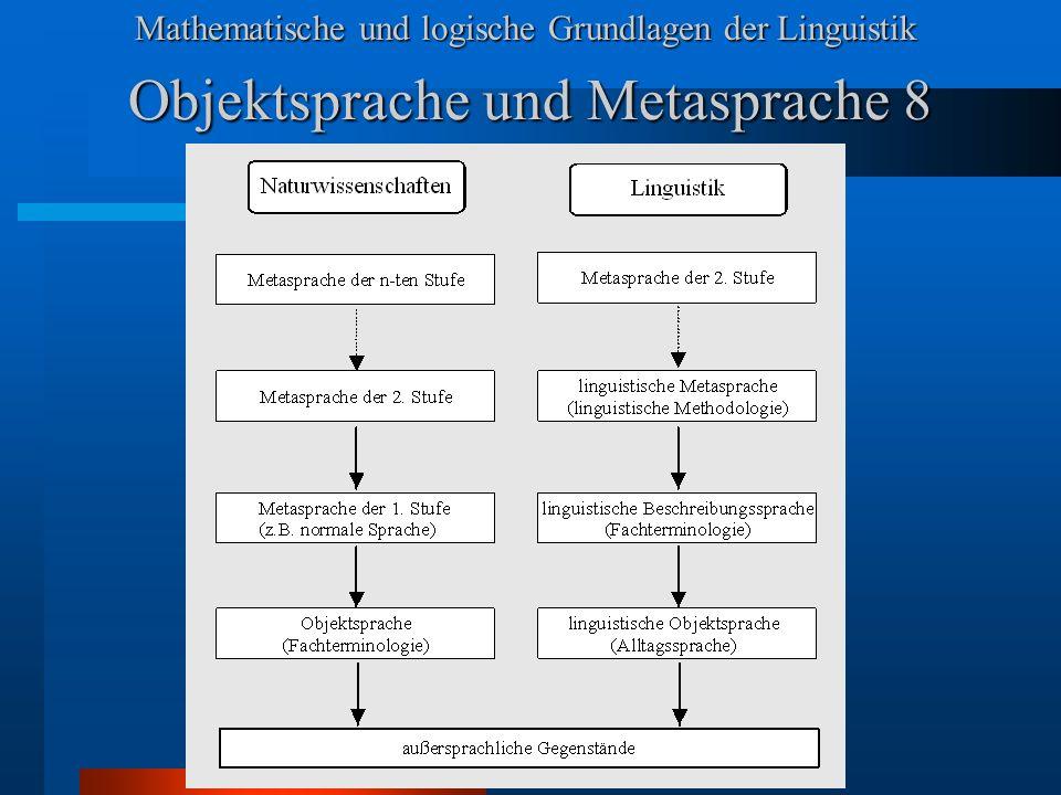 Mathematische und logische Grundlagen der Linguistik Objektsprache und Metasprache 8