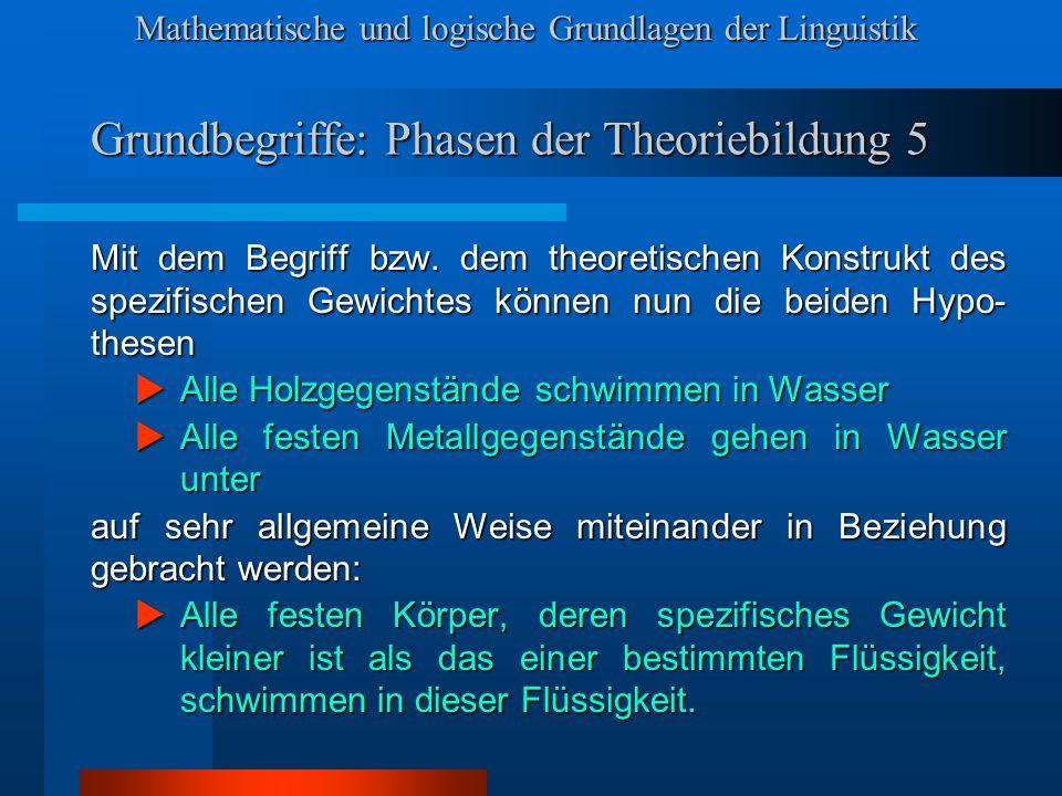 Mathematische und logische Grundlagen der Linguistik Symbolisierte und formalisierte Sprachen 3 Es hat sich gezeigt, daß es leichter ist, Theorien zu entwickeln, die diesen Anforderungen genügen, wenn man als Beschreibungssprache Kunstsprachen verwendet, die nach bestimmten Prinzipien konstruiert sind: SYMBOLISIERTE Sprachen SYMBOLISIERTE Sprachen FORMALISIERTE Sprachen.