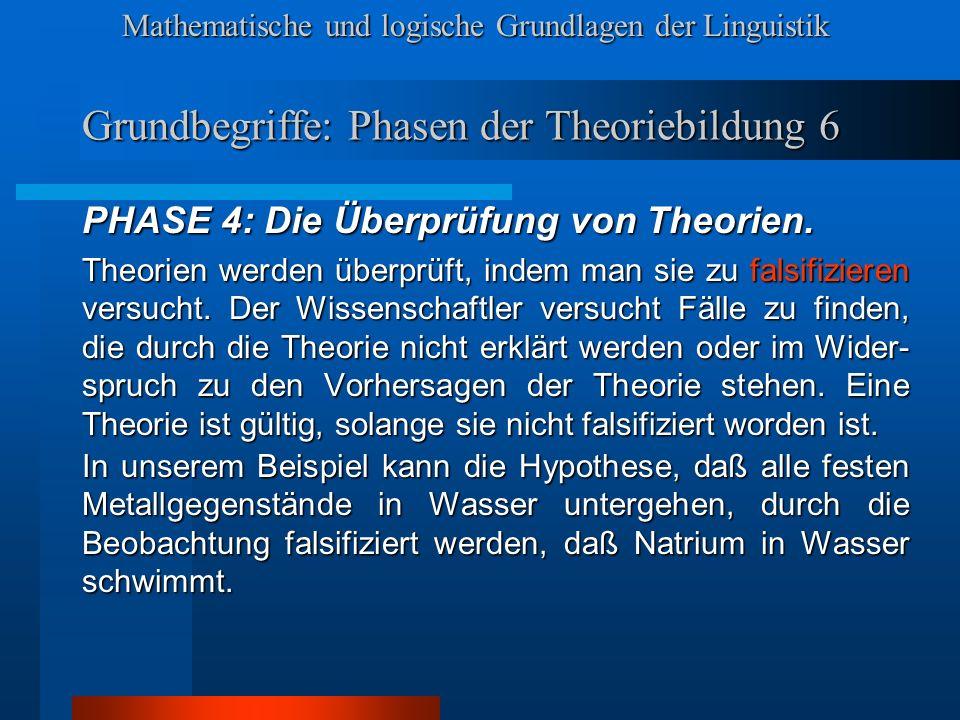 Mathematische und logische Grundlagen der Linguistik Grundbegriffe: Phasen der Theoriebildung 6 PHASE 4: Die Überprüfung von Theorien.