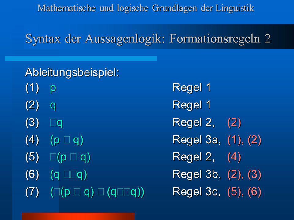 Mathematische und logische Grundlagen der Linguistik Syntax der Aussagenlogik: Formationsregeln 2 Ableitungsbeispiel: (1)pRegel 1 (2)qRegel 1 (3) q Regel 2, (2) (4)(p q) Regel 3a, (1), (2) (5) (p q) Regel 2, (4) (6)(q q) Regel 3b, (2), (3) (7)( (p q) (q q))Regel 3c, (5), (6)