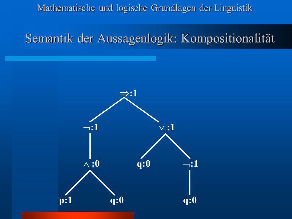 Mathematische und logische Grundlagen der Linguistik Semantik der Aussagenlogik: Kompositionalität :1 p:1 :0 :1 q:0 :1 q:0