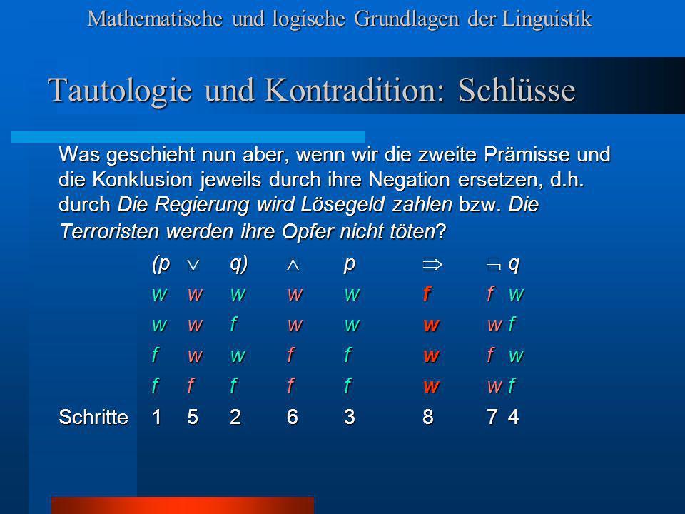 Mathematische und logische Grundlagen der Linguistik Tautologie und Kontradition: Schlüsse Was geschieht nun aber, wenn wir die zweite Prämisse und die Konklusion jeweils durch ihre Negation ersetzen, d.h.