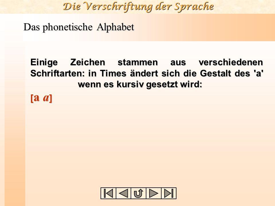 Die Verschriftung der Sprache Das phonetische Alphabet Einige Zeichen stammen aus verschiedenen Schriftarten: in Times ändert sich die Gestalt des 'a'