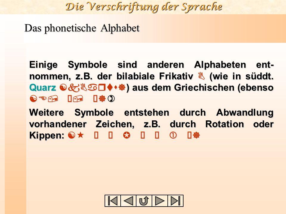 Die Verschriftung der Sprache Das phonetische Alphabet Einige Symbole sind anderen Alphabeten ent- nommen, z.B. der bilabiale Frikativ B (wie in süddt