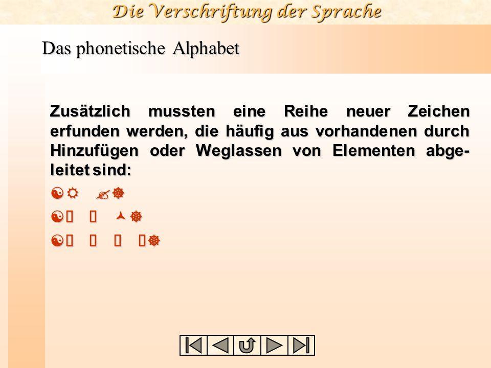Die Verschriftung der Sprache Das phonetische Alphabet Zusätzlich mussten eine Reihe neuer Zeichen erfunden werden, die häufig aus vorhandenen durch H